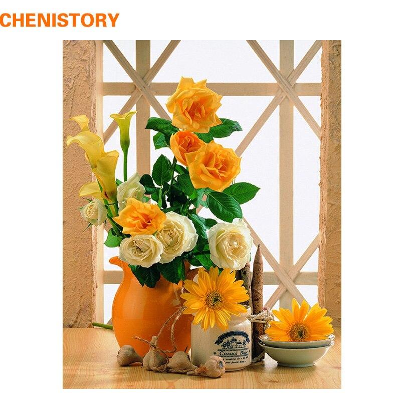CHENISTORY Jaune Fleurs BRICOLAGE Peinture Par Numéros Kit Acrylique Peinture Sur Toile Calligraphie Peinture Coloration Par Nombre Décor À La Maison