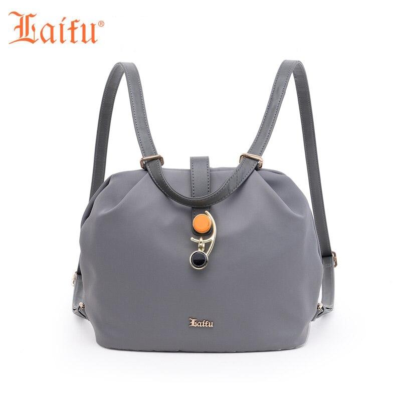 Laifu Nylon Mini Women s Backpack Girls s Crossbody Shoulder Bag Casual Daypack Grey Black Rust