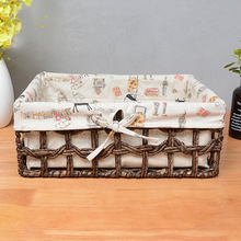 Straw storage basket rattan desktop corn leather hand-woven cloth box