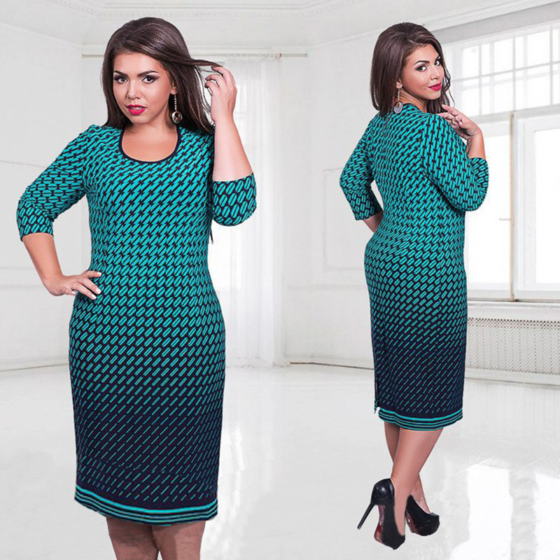 5XL 6XL Large Size 2016 Autumn Dress Big Size Printed Dress Green Pink White Straight Dresses