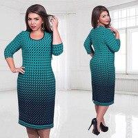 5XL 6XL Large Size 2016 Autumn Dress Big Size Printed Dress Green Pink White Straight Dresses