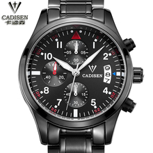 CADISEN 2016 Luxury Brand Black Army Sports Multifunction Calendar Men's Shockproof Waterproof Stainless Steel Watch Men Clock