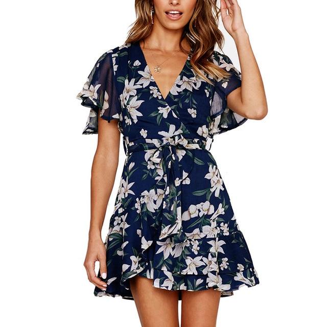 Summer Chiffon Dress Women Casual Print Floral Mini Dresses Femme 2019 New Short Sleeve Dress Sexy Deep V-Neck Vestido S-XL Size