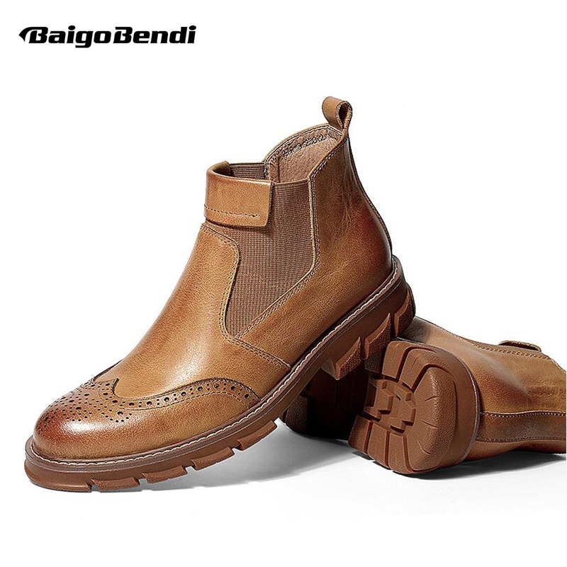 Hight End Mens Fretwork Ankle Boots Genuine Leather Slip On Chelsea Boots Boys Students Heighten Thick Heel Winter ShoesHight End Mens Fretwork Ankle Boots Genuine Leather Slip On Chelsea Boots Boys Students Heighten Thick Heel Winter Shoes