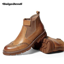 Hight End Mens Fretwork Ankle Boots Genuine Leather Slip On Chelsea Boys Students Heighten Thick Heel Winter Shoes