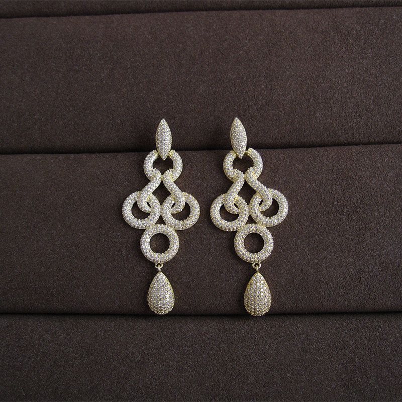 Hot sale Fashionwomen earrings, fashion AAA cubic zirconia pave setting drop earrings novel accessaries,E0448