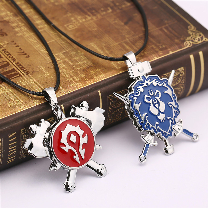 ORP Anime game peripheral products Accessories jewelry World of Warcraft Tribe Union Lion logo can be turned pendant necklace