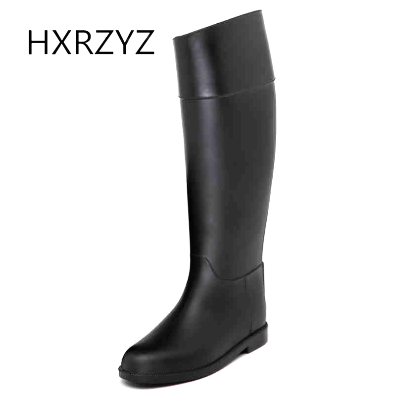 HXRZYZ female black rain boots ladies knee-high rubber boots spring/autumn new fashion PVC slip-resistant waterproof shoes women fqa33n10l to 3p