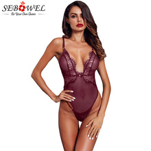 SEBOWEL 2019 Sexy Wine Red/Black Lace Stripe Bodysuit Women New Summer Sleeveless Skinny Mesh Body Jumpsuit Club Romper 7 Colors