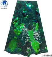 Beautifical green sequin lace fabric flower 3d lace fabric sequin net lace embroidery glitter fabric 5yards/lot for dress 35N39