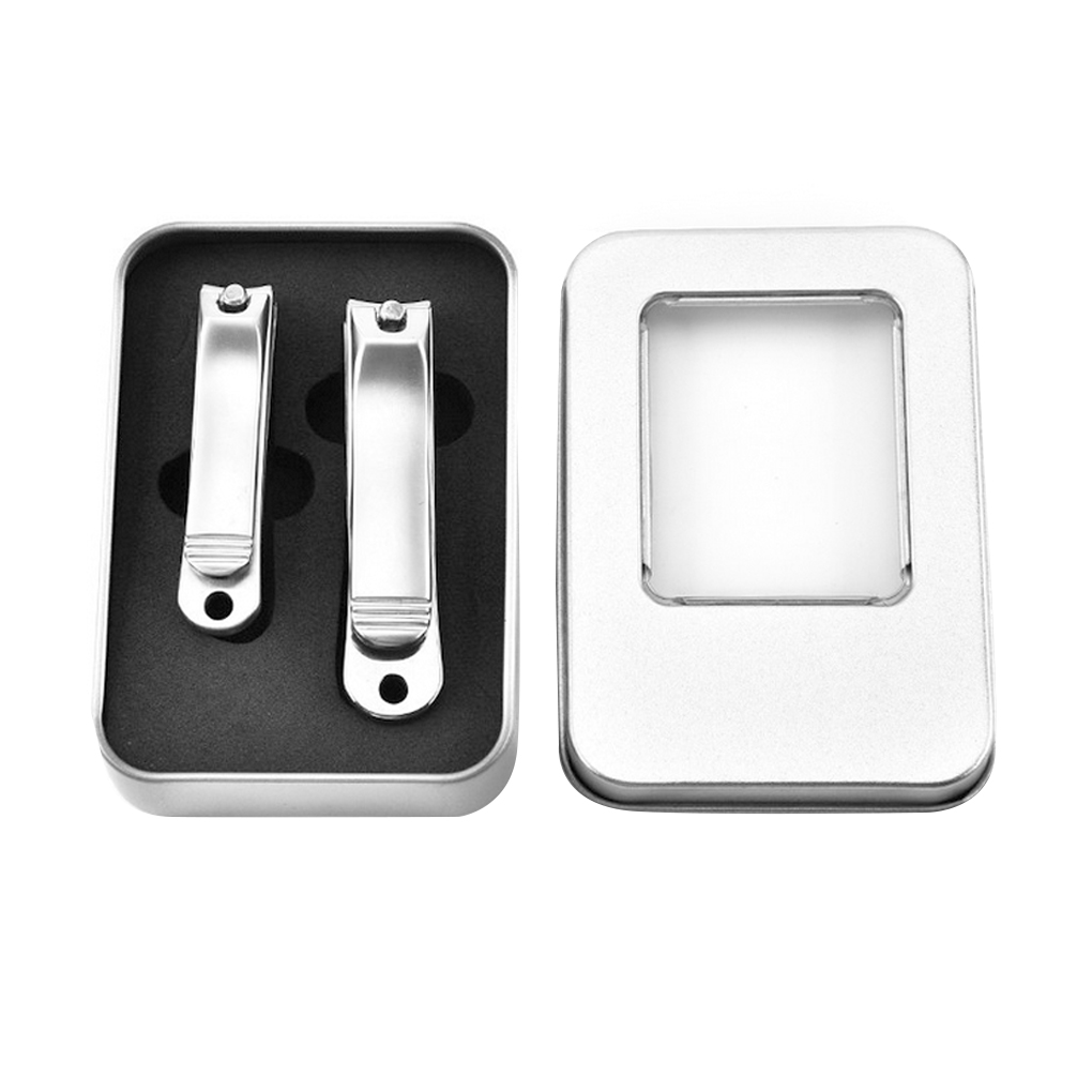 2Pcs Stainless Steel Nail Clipper Cutter Set Manicure Trimmer Tool With Case Finger Nail Scissors
