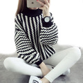 Fashion Round Neck Black and White Striped Lantern Sleeve Women's Pullovers 2016 Autumn Winter Thickening Loose Sweaters