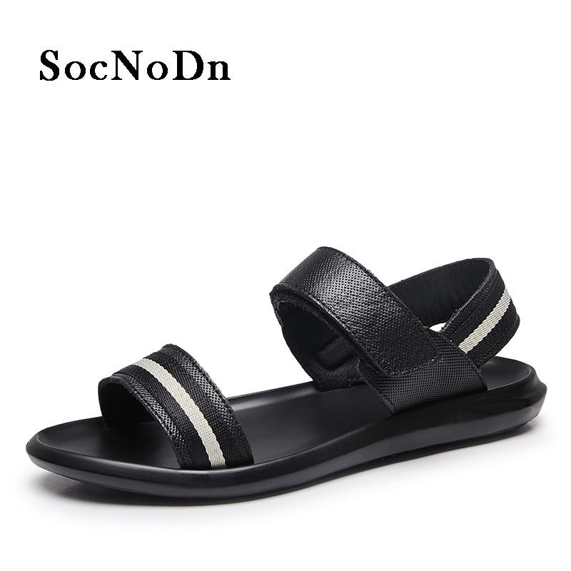 SocNoDn Mens Sandals Fashion 2018 Summer Casual Walkiing Footwear Man Beach Sandals Hook Loop Breathable Leisure Shoe