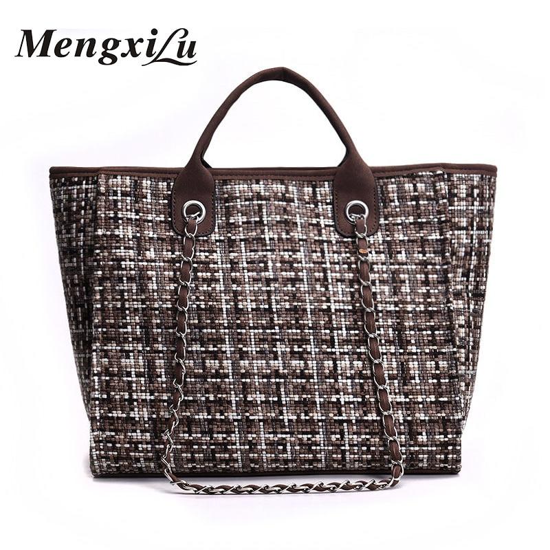 Women Shoulder Bags 2018 Fashion Women Handbags Wool Large Capacity Casual Tote Bag Chain Crossbody Bag For Women Plaid Design цена