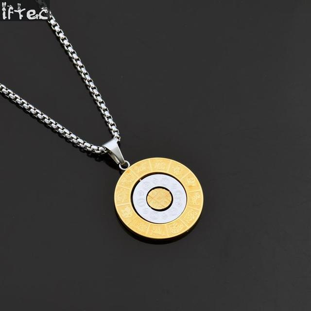 Stainless Steel 12 Zodiac Signs Leo Pendant Necklace For Men Wome Titanium Birthday Gift Amulet Hip Hop Chunky Choker