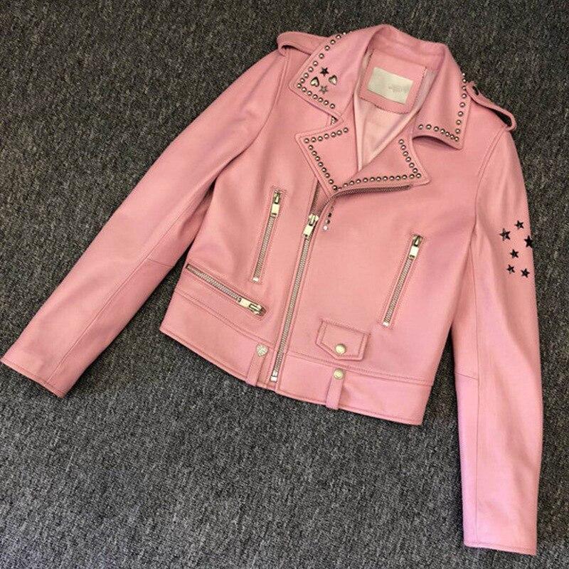 2019 printemps hainer véritable peau de mouton en cuir Rivets vestes femmes mode moto mince court en cuir manteau noir rose Y273