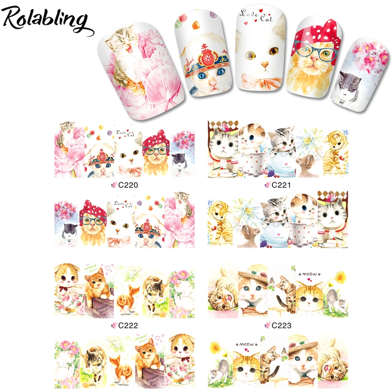 photograph relating to Cute Printable Stickers known as US $1.13 50% OFFRolabling Cats Collection Lovable Nail Artwork Decorations Stickers Printable Sticker Drinking water decal Drinking water Styles For Nails Artwork manicure-in just