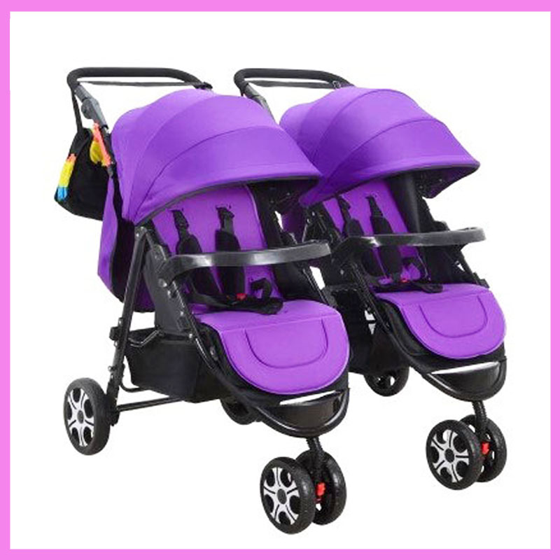 Detechable Portable Twins Baby Carriage Tricycle Stroller Pram Folding Two Baby Double Stroller for Twins Buggy Pushchair 0~3 Y anti uv sunshade twins baby stroller double tricycle trolley rotating swivel seat prams two baby carriage carrier buggies