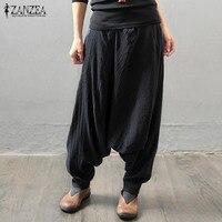 Hot Fashion Harajuku ZANZEA Side Pockets Elastic Waist Long Harem Pants Female Autumn Black Vintage Drop