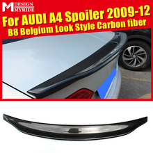 For Audi A4 A4a A4Q A4A Spoiler Tail B8 Belgium Style Carbon Fiber rear spoiler Rear trunk Lid Boot Lip wing car styling 2009-12