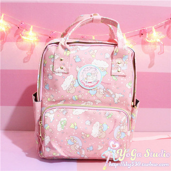 Cartoon Cute Genuine Little Twin Stars Backpack Children School Bag Pink Primary Schoolbags Twin Stars Travel Bag for Girls Gift new cartoon cute genuine hello kitty backpack hellokitty bag high quality pu pink school bags melody travel bag for girls gift