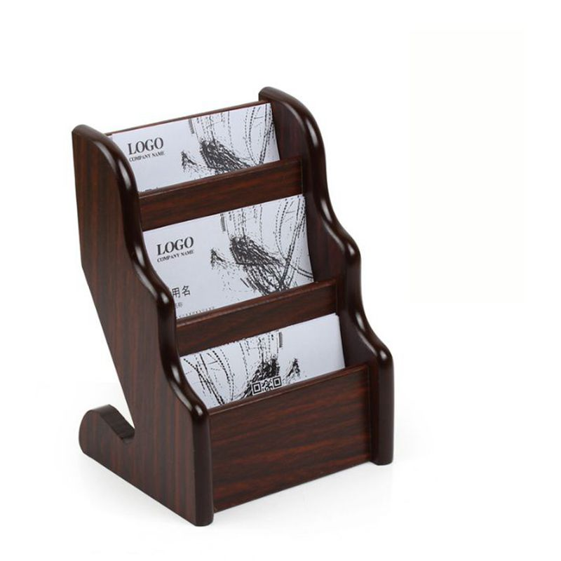 triple-layer wood desk name card holder box case office table stationery organizertriple-layer wood desk name card holder box case office table stationery organizer