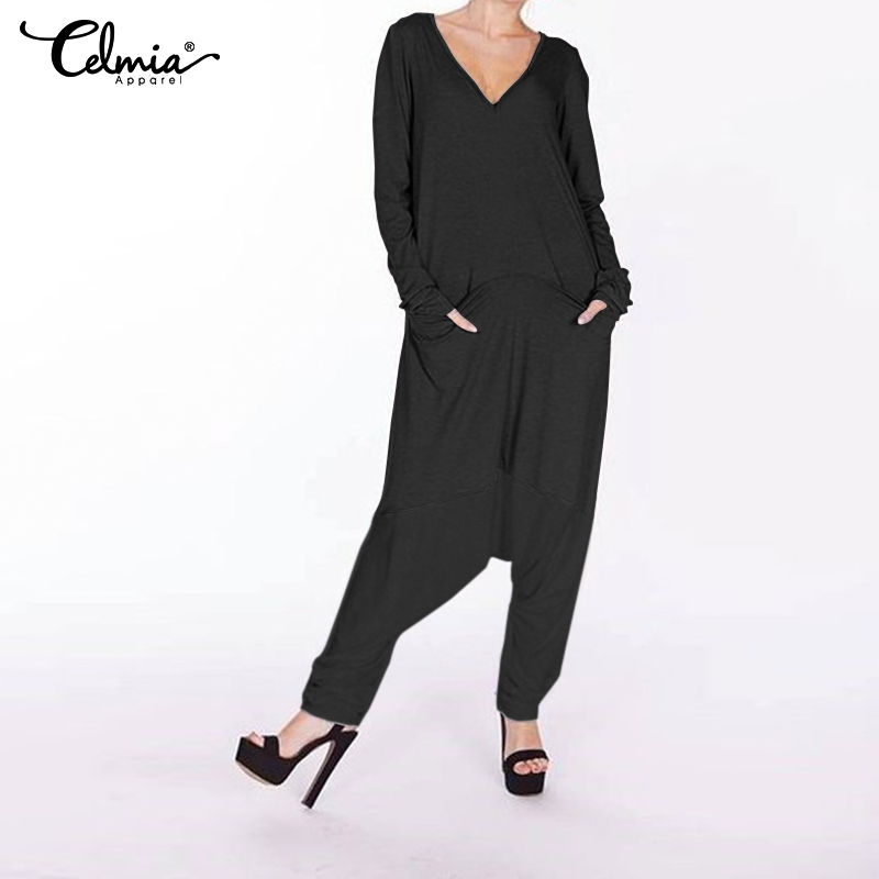 2019 Celmia Plus Size   Jumpsuits   Women Romper Casual Baggy Harem Pants Drop Crotch Playsuit Macacao Feminino Long Sleeve Overalls