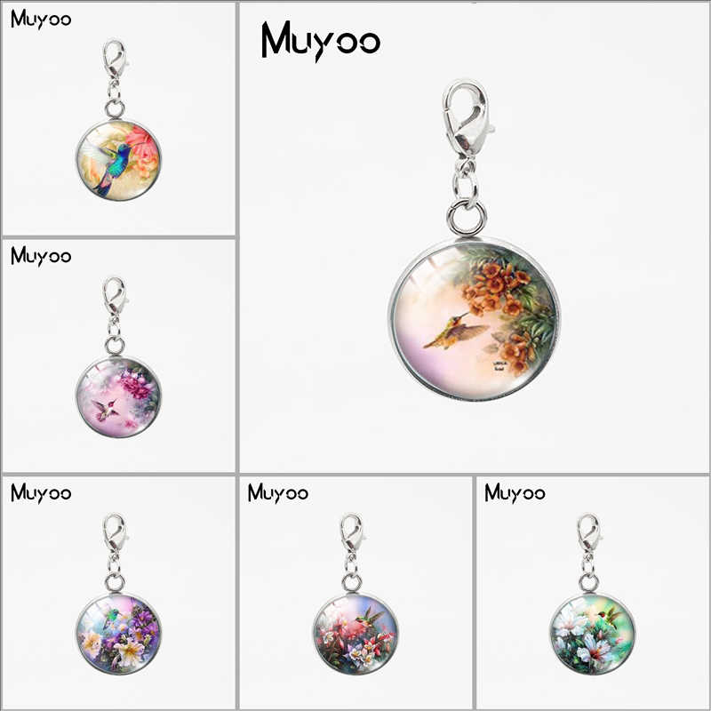 Vinatge Beauty Birds Hummingbird Design Round Charms with Lobster Buckle Sweet Lovely Birds Jewelry Car Bag Accessories