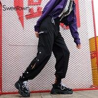 Sweetown Black Streetwear Pantalon Femme Side Button Women's High Waist Sweatpants And Joggers Korean Fashion Hippie Harem Pants