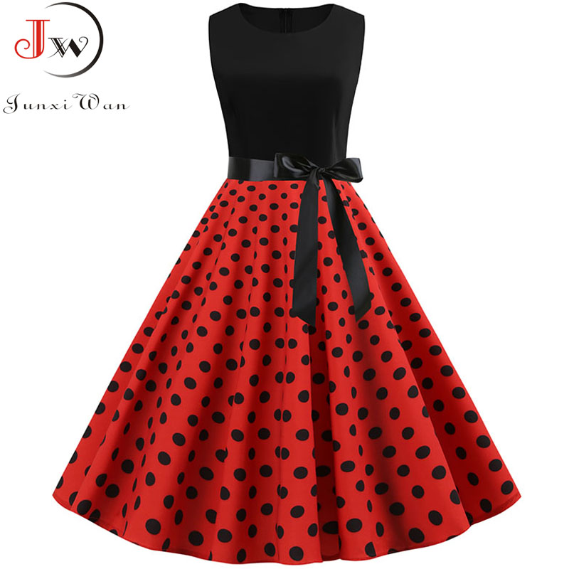 Black Polka Dot Party Dress Women 2019 Summer Red Pin Up Rockabilly Dress Robe Femme 50s 60s Elegant Vintage Dress Plus Size