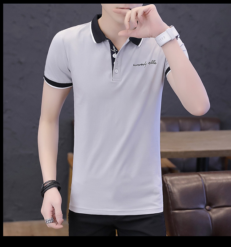 2019 men splicing t-shirts with short sleeves Comfortable in summer youth leisure lapel t-shirts 25