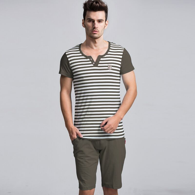 Summer Men Pajamas Set Striped T-shirt Casual Shorts Suit Nightwear Male Short-sleeved Home Clothing Plus Size Pyjama Sleepwear