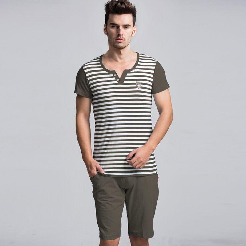 Summer Men Pajamas Set Striped T-shirt Casual Shorts Suit Nightwear Male Short-sleeved Home Clothing Plus Size Pyjama Sleepwear