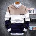 Otoño invierno nueva juventud moda suéter de manga larga que basa la camisa con cuello en v suéteres de los hombres de color de los Cordones ocasional ropa
