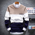 Outono inverno nova moda juventude longo-sleeved camisola assentamento camisa com decote em v cor de Costura blusas roupas masculinas casuais