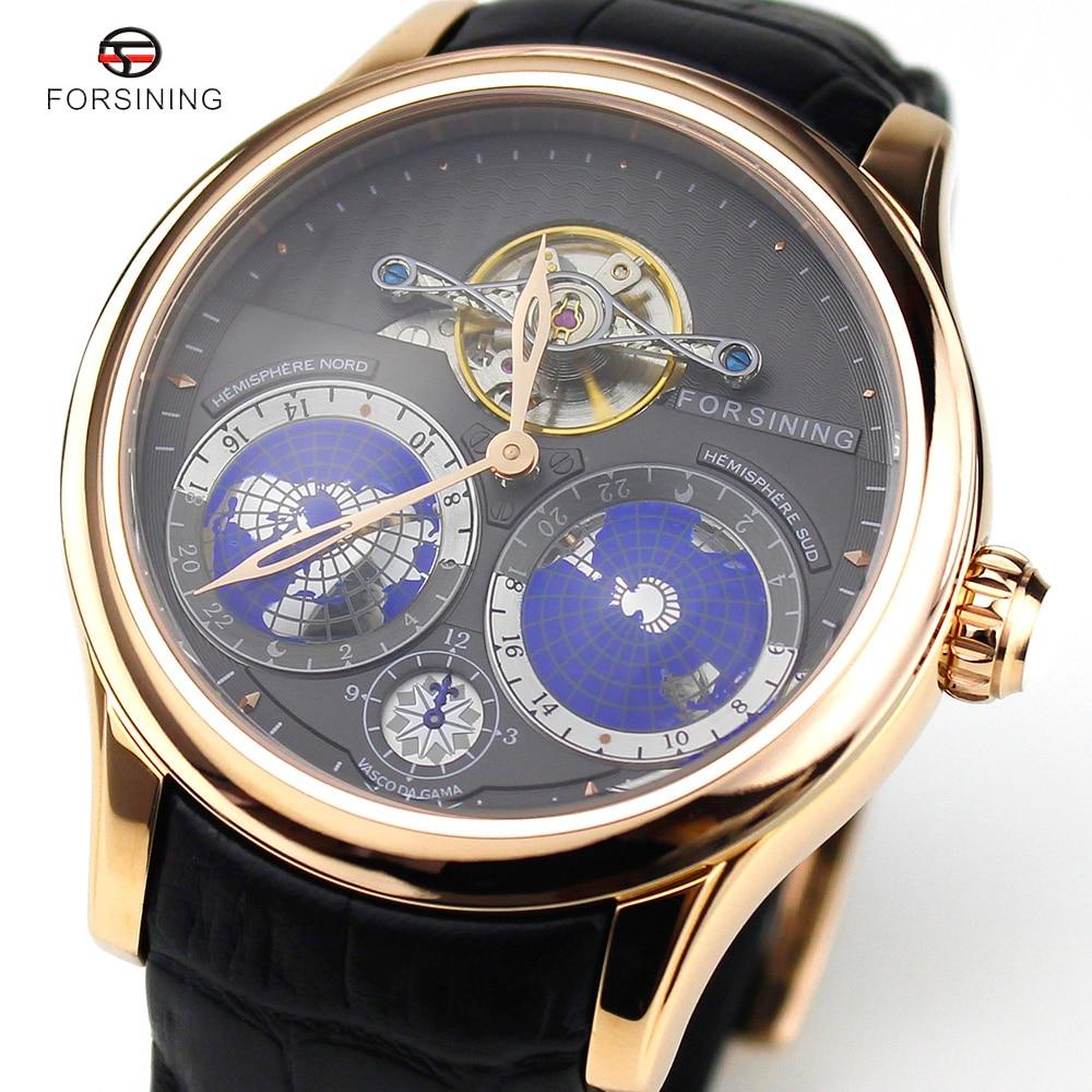 2016 Forsining Earth Real Tourbillion Multi dimensional Designer Mens Watches Top Brand Luxury Japanese Movement Montre