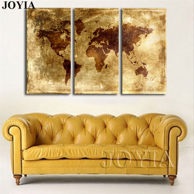 3 Pieces Wall Art Canvas Print World Map Abstract Aureate Background ...