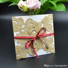50pcs/lot Hollow Flower Design Paper Invitation Envelope Party Wedding Banquet Card With Bowknot wd907
