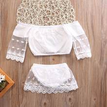 Cute Baby Girls Off Shoulder Lace Tops Shorts 2Pcs Party Outfits Set Clothes sweet angle solid white fashion July26(China)