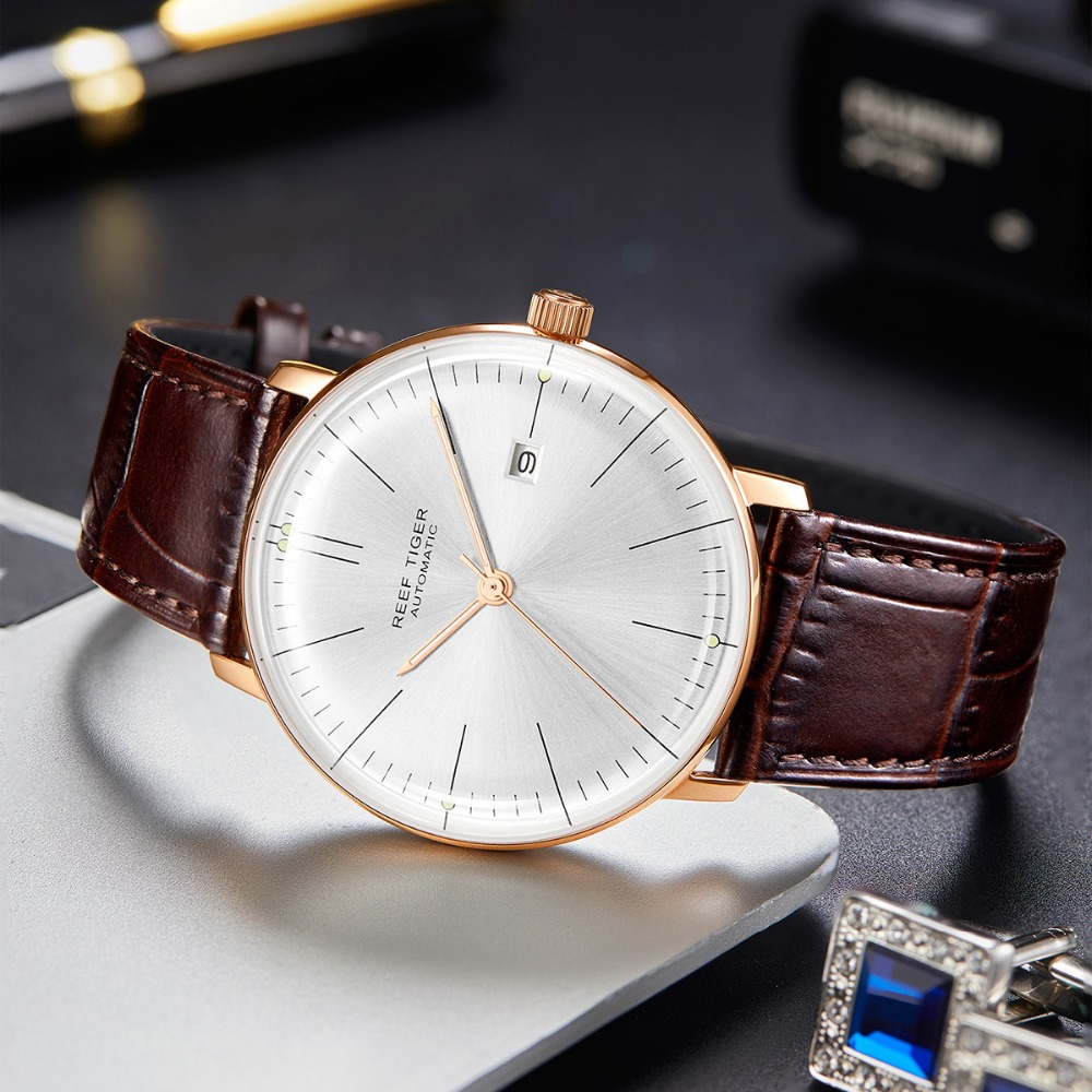2019 Reef Tiger RT Top Band Luxury Dress Watch for Men Brown Leather Strap Rose Gold