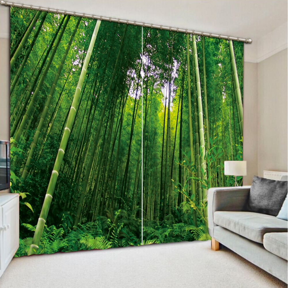 green curtains bamboo curtain 3D Curtain Printing Blockout Polyester Photo Drapes Fabric For Room Bedroom Window curtains