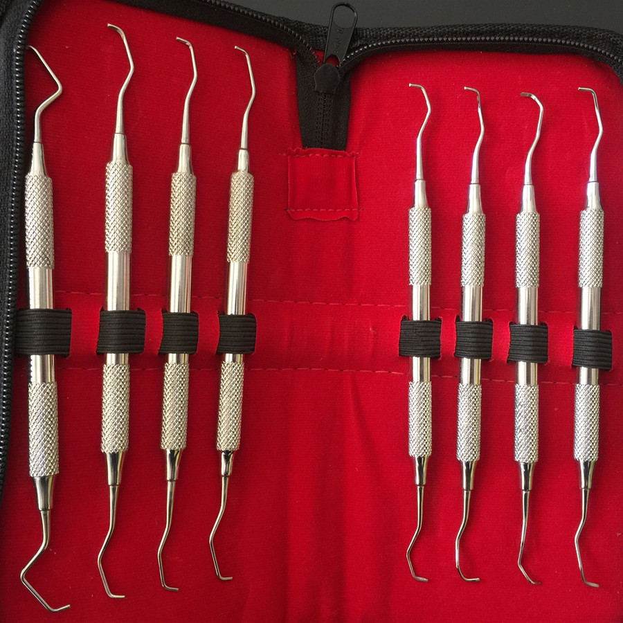 High quality Dental Gracey curettes Set of 8 Periodontal Scaler Calculus Stainless Steel scaler dental tool kit teeth cleaning pro teeth whitening oral irrigator electric teeth cleaning machine irrigador dental water flosser teeth care tools m2