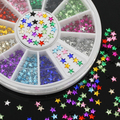 12 Colors 3D Pentagram Nail Art Salon Stickers Tips DIY Decorations Beauty Studs with Wheel  5IEI