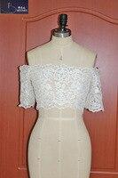 Custom Size Bolero Wedding Lace Appliqued Wedding Wrap Off Shoulder Short Sleeves Bridal Cape Lace Up Back