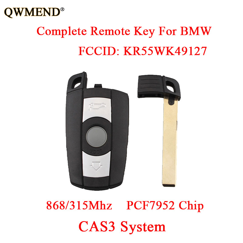 QWMEND 868/315Mhz 3 Buttons PCF7952 Chip Complete Remote Key DIY For BMW 1/3/5/7 Series CAS3 System KR55WK49127 Car key Fob