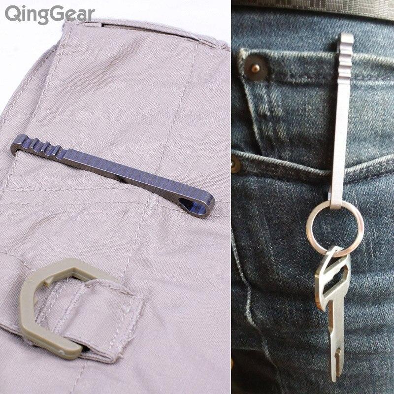 2 sztuk QingGear HangClip Tytanowy breloczek Kieszonkowy klip - Zestawy narzędzi - Zdjęcie 5