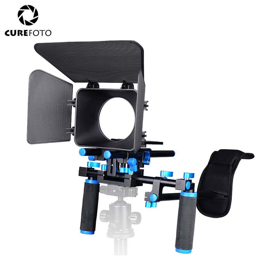 CUREFOTO Flyweight DSLR Shoulder Mount Rig Portable FilmMaker System with Matte Box Dual-hand Handgrip For DSLR Video Camera DV ylg0102h dslr shoulder mount support rig with camera camcorder mount slider shoulder lift set double hand handgrip holder set