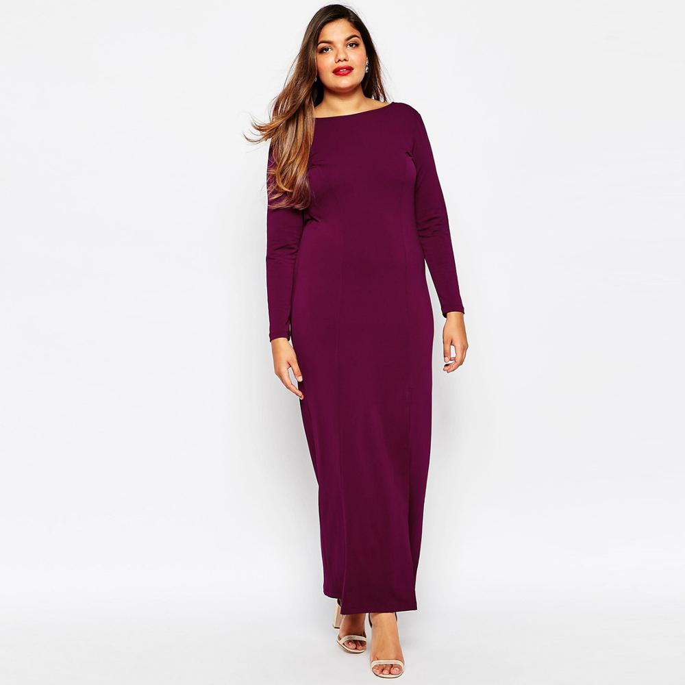 468bf6168d4f2 US $29.68 35% OFF|Brand Sexy Cowl Back Slit Maxi Dress Elegant Long Sleeve  Bodycon Evening Prom Women Dresses Plus Size Robe Longue Femme 5XL 6XL-in  ...