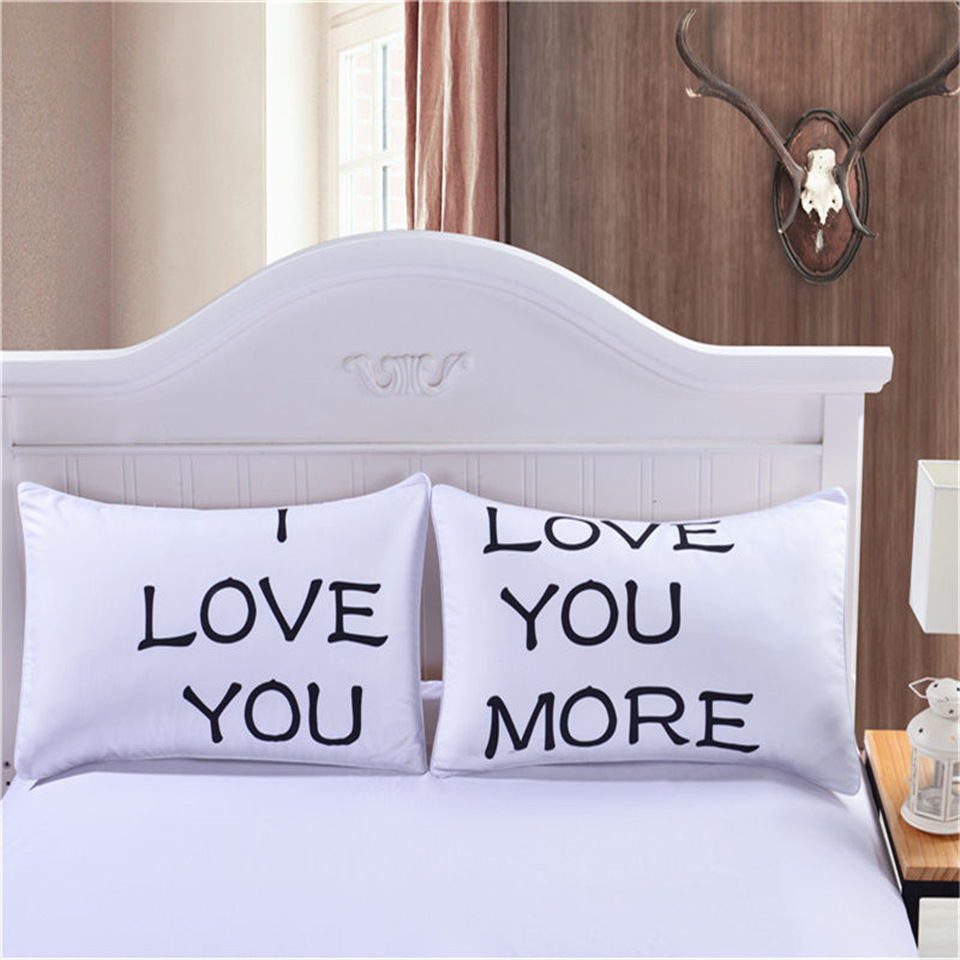 online get cheap couple pillowcases aliexpresscom  alibaba group - cilected black white couples pillowcase cover i love you more home textilepillows case living room