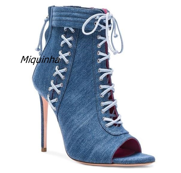 Trendy Design Blue Jean Lace Up Sandal Boots Pretty Open Toe Cross Strap Thin Heel Booties Denim Stiletto Heel Dress Shoes цена